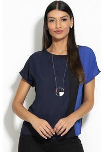 Blusa Recortes Azul