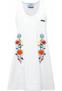 Prada Vestido Midi Com Bordado Floral - Branco