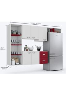 Cozinha Compacta 4 Peças 5 Portas Anabela Siena Móveis Branco/Vinho