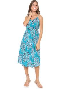 Vestido Redley Midi Floral Azul