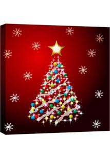 Quadro Impressão Digital Árvore Natal Vermelho 30X30Cm Uniart