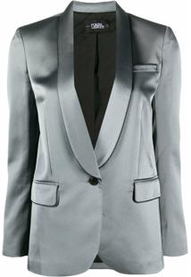 Karl Lagerfeld Piped-Trim Satin Blazer - Cinza