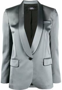 Karl Lagerfeld Blazer De Cetim Com Acabamento Contrastante - Cinza