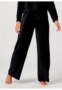 Calça Pantalona Hering Em Plush Canelado De Poliéster Feminina - Feminino-Preto