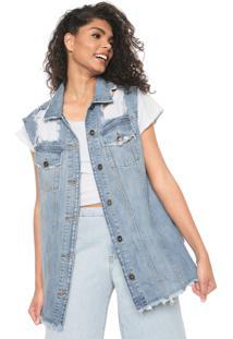 Colete Jeans Colcci Destroyed Azul