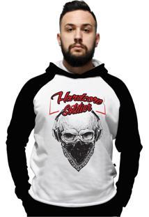 Blusa Moletom Skull Soldier C/ Bolso Hardcore Line Branco