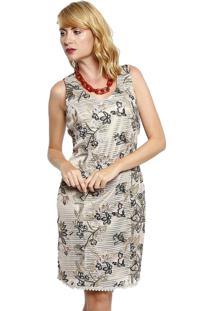 Vestido Estampado Energia Fashion Com Renda Bege