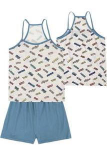 Pijama Feminino Em Malha De Algodão Com Regata De Alças Finas