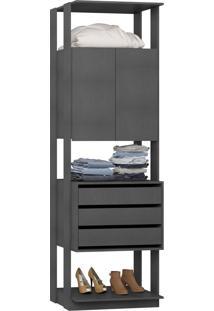 Guarda-Roupa Closet 2 Portas 3 Gavetas 70 Cm Espresso - Bentec