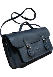 Bolsa Line Store Leather Satchel Média Couro Marinho - Kanui