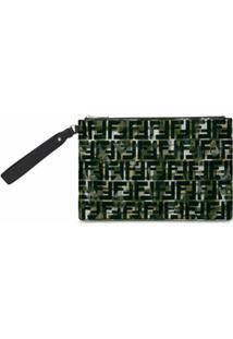 Fendi Bolsa Com Estampa De Logo Ff E Zíper - Verde