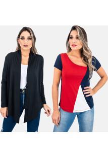 Kit 2 Pã§As 1 Cardigan E 1 Blusa Juquitiba Brasil Preto / Azul - Preto - Feminino - Dafiti