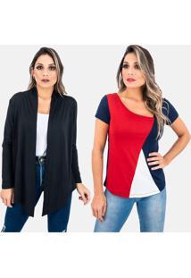 Kit 2 Pã§As 1 Cardigan E 1 Blusa Juquitiba Brasil Preto / Azul - Preto - Feminino - Viscose - Dafiti