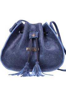 Bolsa Saco Feminina De Couro - Feminino-Azul