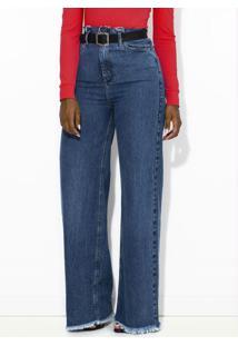 Calça Jeans Pantalona Com Cinto Azul