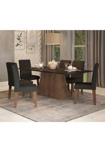 Conjunto De Mesa De Jantar Com 6 Cadeiras Estofadas Bianca Suede Preto