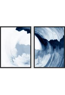 Quadro 65X90Cm Abstrato Ágata Azul Moldura Preta Sem Vidro Decorativo Interiores