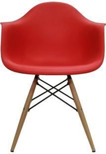 Cadeira Eames Com Braco Base Madeira Vermelho Fosco