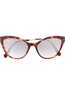 Miu Miu Eyewear Óculos De Sol De Gatinho Com Efeito Tartaruga - Marrom