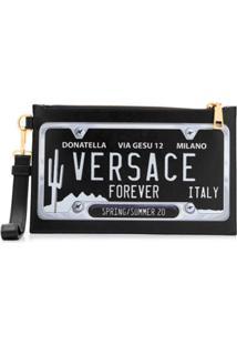 Versace Clutch Com Estampa De Placa - Preto