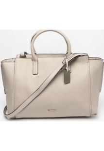 Bolsa Em Couro Com Tag & Bag Charm- Nude- 26X31X18Cmcalvin Klein