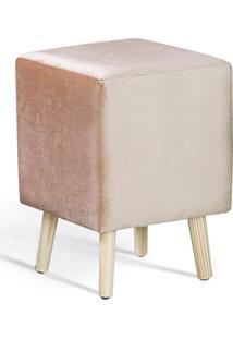 Puff Cube Rosado Pes Palito Pinus - 49872 - Sun House