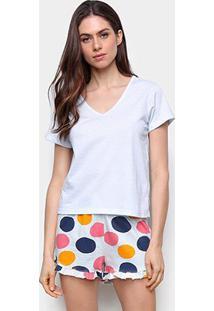 Pijama Hering Curto Estampado Feminino - Feminino-Branco