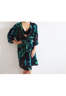 Robe Kimono Em Viscose Preto/Verde M - Dica045 Dica De Lingerie