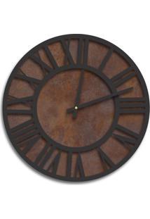 Relógio De Parede Premium Corten Com Números Romanos Em Relevo Preto Ônix 50Cm Grande