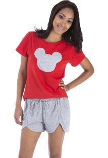 Pijama Curto Inspirate Vermelho E Mescla