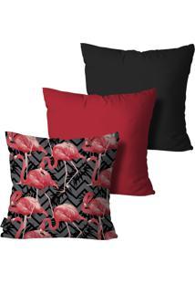 Kit 3 Capas Para Almofadas Mdecore Flamingos 45X45Cm Multicolorido