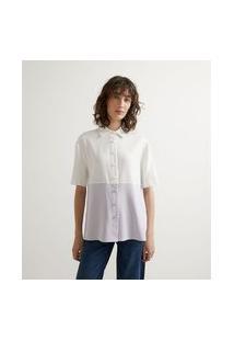 Camisa Em Viscose Com Recorte Bicolor E Manga Curta | Cortelle | Roxo | Gg