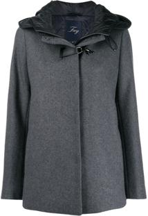Fay Buckle Fastened Hooded Coat - Cinza