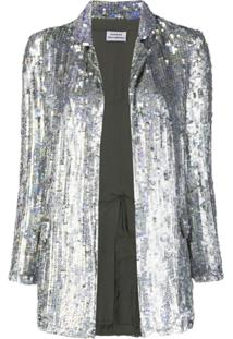 P.A.R.O.S.H. Sequinned Open-Front Blazer - Prateado