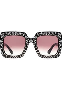 Gucci Eyewear Óculos De Sol Quadrado Oversized Com Cristais - Rosa