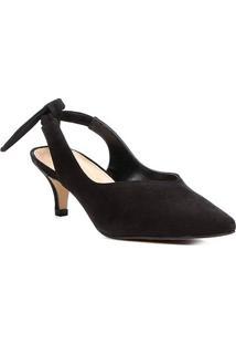 Scarpin Couro Shoestock Salto Baixo High Vamp - Feminino-Preto