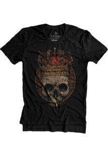 Camiseta Stoned Longline Stoned Gold King Skull Preto
