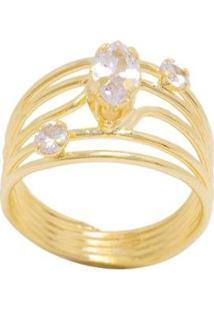 Anel 5 Fios Semijoia Banho De Ouro 18K Zirconia Pedra Navete Central E Duas Pedras Redondas Laterais - Feminino-Dourado