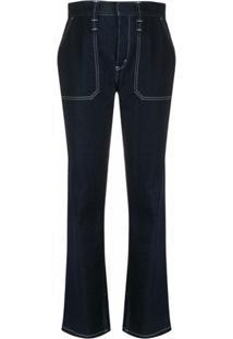 Chloé Calça Jeans Bootcut Com Pespontos - Azul
