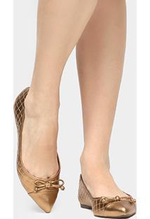 Sapatilha Shoestock Matelassê Bico Fino Feminina - Feminino-Bronze