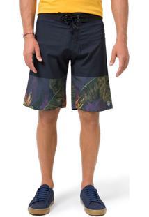 Boardshort Estampado Azul Marinho