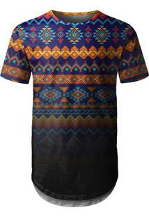 Camiseta Longline Over Fame Tribal Multicolorida