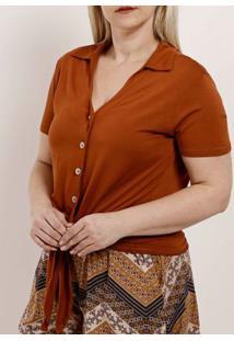 Camisa Manga Curta Plus Size Feminina Autentique Caramelo