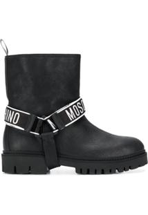 Moschino Ankle Boot Com Logo - Preto