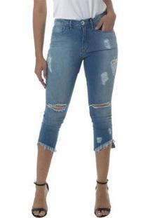 Calça Jeans Linda Z Mid Rise Cropped Skinny 201623055 Azul - Azul - 34 - Feminino