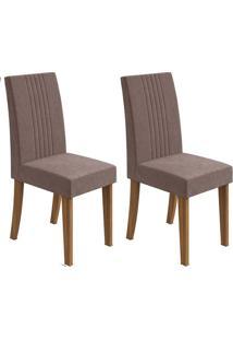 Conjunto De Cadeiras De Jantar 2 Rock Veludo Rovere E Chocolate