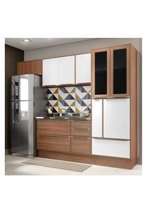 Cozinha Completa Multimóveis Com 6 Peças Calábria 5453R Nogueira/Branco