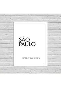 Quadro Decorativo Minimalista Coordenadas São Paulo Branco - Grande