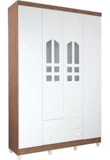 Armário 4 Portas Com 2 Gavetas Ibiza Branco Fosco Com Amadeirado
