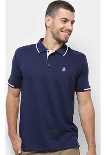 Camisa Polo Broken Rules Detalhe Listrado Masculina - Masculino-Marinho